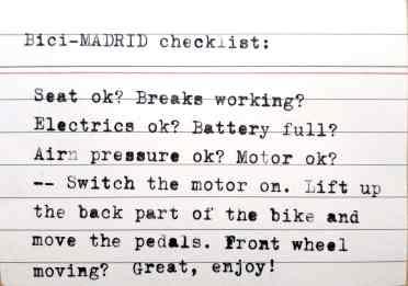 Bici-Mad checklist